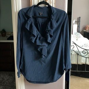 Navy ruffle blouse from Ann Taylor